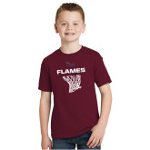 Youth Maroon T Shirt-Flames Basketball w/ Hanging Net