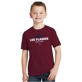 Youth Maroon T Shirt-Lee Flames Soccer Half Ball