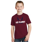 Youth Maroon T Shirt-Lee Flames Cross Country Wings