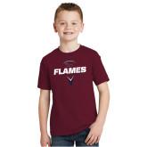 Youth Maroon T Shirt-Flames Lacrosse Geometric Stick Head