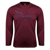 Performance Maroon Longsleeve Shirt-Flames Lee University