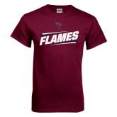 Maroon T Shirt-Slanted Flames w/ Logo