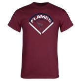 Maroon T Shirt-Flames Baseball Diamond