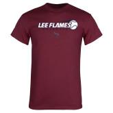 Maroon T Shirt-Lee Flames Baseball w/ Flying Ball