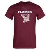 Maroon T Shirt-Flames Basketball w/ Hanging Net
