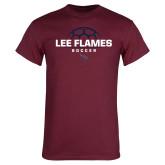 Maroon T Shirt-Lee Flames Soccer Half Ball