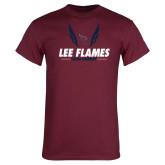 Maroon T Shirt-Lee Flames Cross Country Wings
