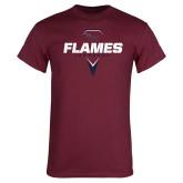 Maroon T Shirt-Flames Lacrosse Geometric Stick Head
