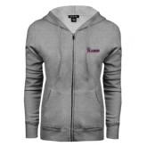 ENZA Ladies Grey Fleece Full Zip Hoodie-Flames Lee University