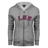 ENZA Ladies Grey Fleece Full Zip Hoodie-Arched Lee