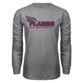 Grey Long Sleeve T Shirt-Flames Lee University