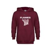 Youth Maroon Fleece Hoodie-Flames Basketball w/ Hanging Net