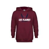 Youth Maroon Fleece Hoodie-Lee Flames Cross Country Wings