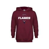 Youth Maroon Fleece Hoodie-Flames Lacrosse Geometric Stick Head