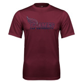 Performance Maroon Tee-Flames Lee University