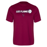 Performance Maroon Tee-Lee Flames Baseball w/ Flying Ball