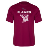 Performance Maroon Tee-Flames Basketball w/ Hanging Net