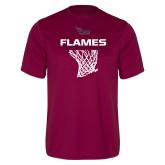 Performance Maroon Tee-Flames Basketball w/ Hanging Net