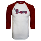 White/Maroon Raglan Baseball T Shirt-Flames Lee University