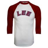 White/Maroon Raglan Baseball T Shirt-Arched Lee