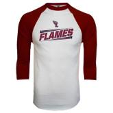 White/Maroon Raglan Baseball T Shirt-Slanted Flames w/ Logo