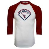 White/Maroon Raglan Baseball T Shirt-Flames Baseball Diamond