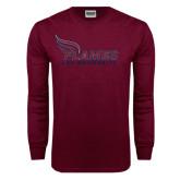 Maroon Long Sleeve T Shirt-Flames Lee University