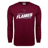 Maroon Long Sleeve T Shirt-Slanted Flames w/ Logo