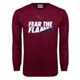Maroon Long Sleeve T Shirt-Fear The Flames