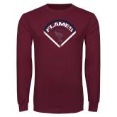 Maroon Long Sleeve T Shirt-Flames Baseball Diamond