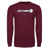 Maroon Long Sleeve T Shirt-Lee Flames Baseball w/ Flying Ball