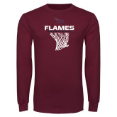 Maroon Long Sleeve T Shirt-Flames Basketball w/ Hanging Net