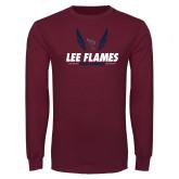 Maroon Long Sleeve T Shirt-Lee Flames Cross Country Wings