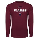 Maroon Long Sleeve T Shirt-Flames Lacrosse Geometric Stick Head