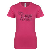 Ladies SoftStyle Junior Fitted Fuchsia Tee-Official Logo Hot Pink Glitter