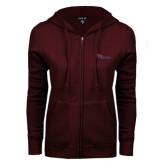 ENZA Ladies Maroon Fleece Full Zip Hoodie-Flames Lee University