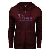 ENZA Ladies Maroon Fleece Full Zip Hoodie-Official Logo