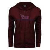 ENZA Ladies Maroon Fleece Full Zip Hoodie-Cross Country