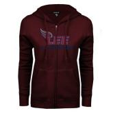 ENZA Ladies Maroon Fleece Full Zip Hoodie-Lacrosse