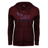 ENZA Ladies Maroon Fleece Full Zip Hoodie-Alumni