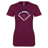 Next Level Ladies SoftStyle Junior Fitted Maroon Tee-Flames Baseball Diamond
