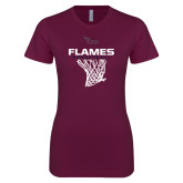 Next Level Ladies SoftStyle Junior Fitted Maroon Tee-Flames Basketball w/ Hanging Net