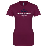 Next Level Ladies SoftStyle Junior Fitted Maroon Tee-Lee Flames Soccer Half Ball