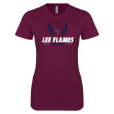 Next Level Ladies SoftStyle Junior Fitted Maroon Tee-Lee Flames Cross Country Wings
