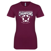 Next Level Ladies SoftStyle Junior Fitted Maroon Tee-Womens Soccer Champions
