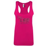Next Level Ladies Raspberry Ideal Racerback Tank-Official Logo Hot Pink Glitter