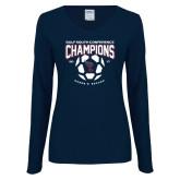 Ladies Navy Long Sleeve V Neck T Shirt-Womens Soccer Champions
