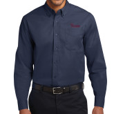 Navy Twill Button Down Long Sleeve-Flames Lee University
