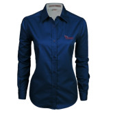 Ladies Navy Twill Button Down Long Sleeve-Flames Lee University