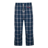 Navy/White Flannel Pajama Pant-Flames Lee University